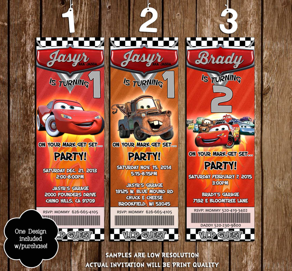 Disneys Cars Birthday Party Ticket Invitation