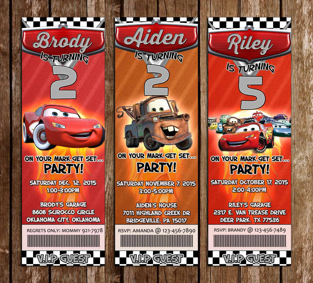Disney's Cars Movie Birthday Party Ticket Invitation