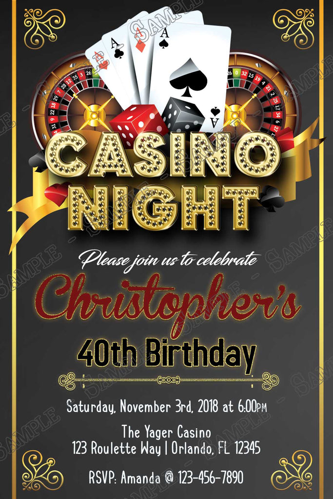 This is a graphic of Eloquent Free Printable Casino Party Invitations