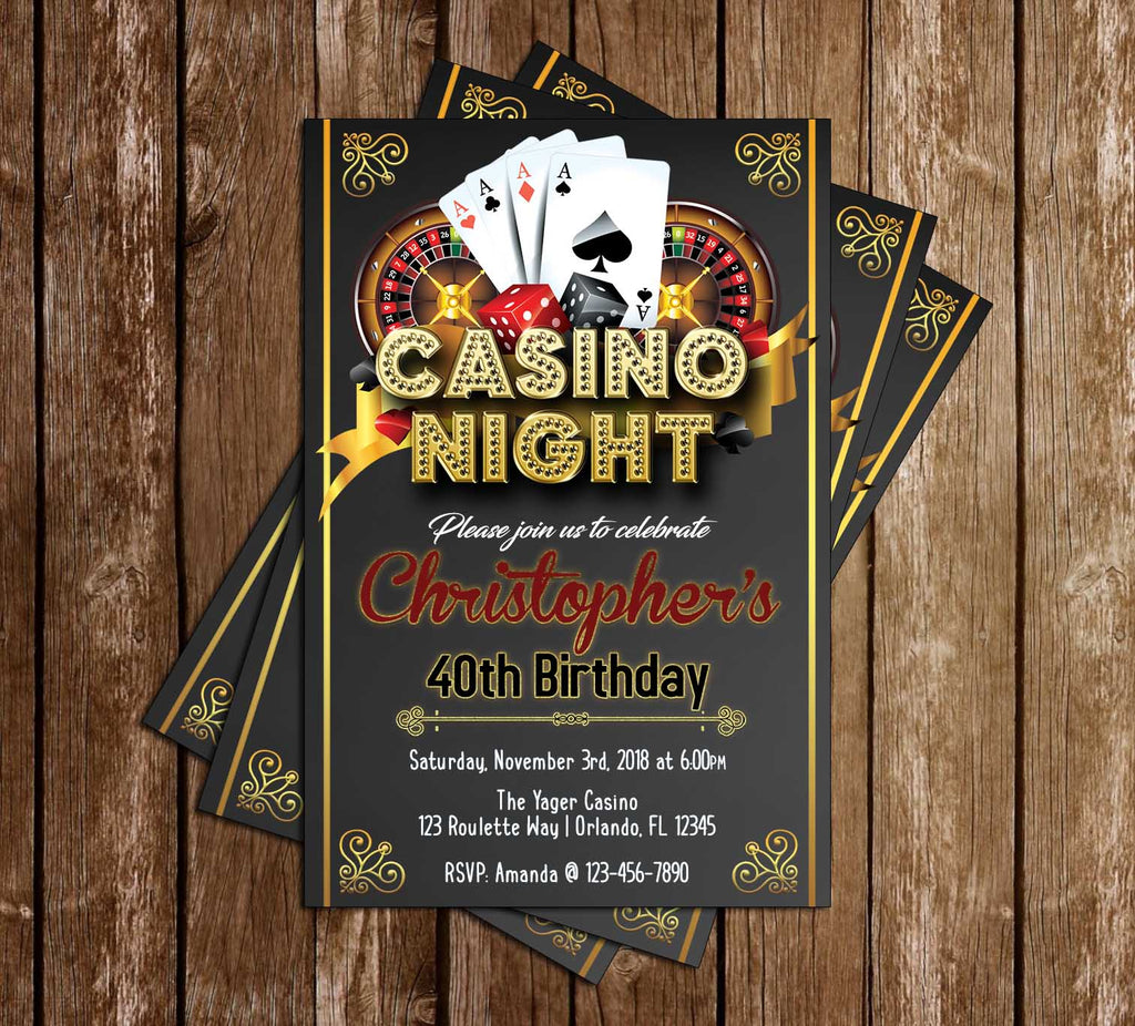 Gambling - Casino Night - Birthday Party - Invitation