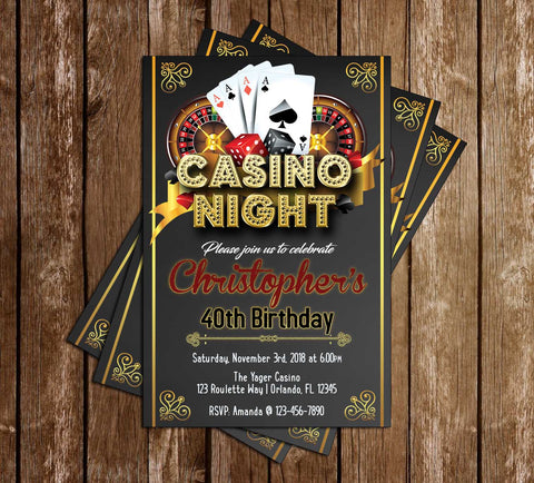 Casino Night - Birthday Party - Invitation