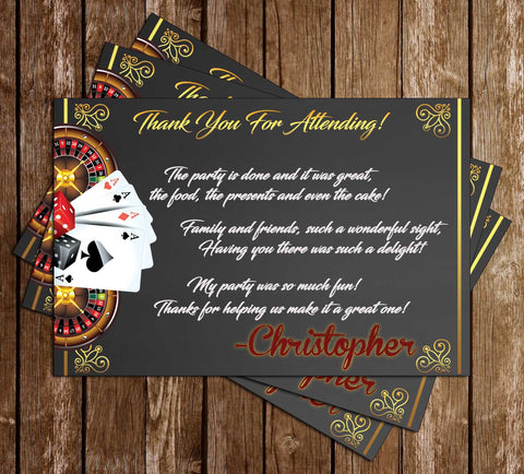 Gambling - Casino Night - Birthday Party - Thank You Cards