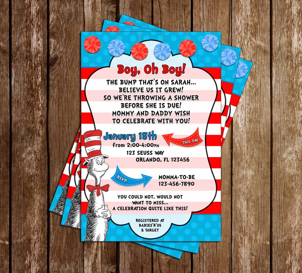 The Cat in the Hat - Baby Boy - Baby Shower Invitation