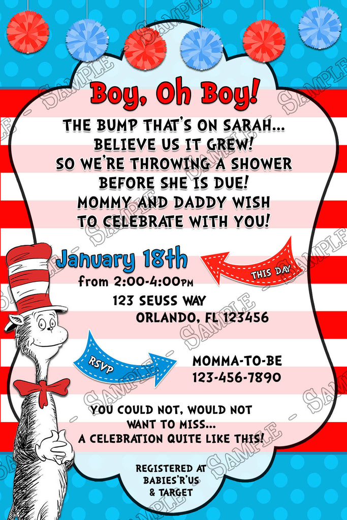 Novel Concept Designs - The Cat in the Hat - Baby Boy - Baby Shower ...