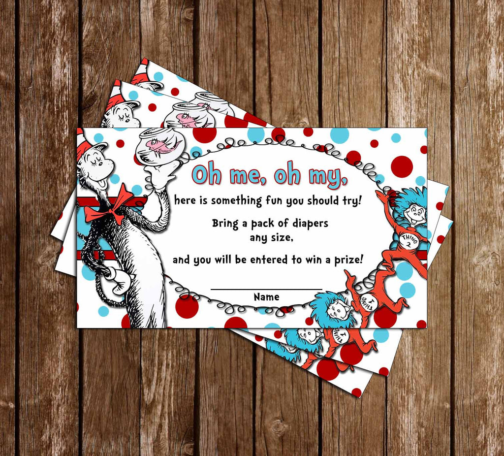 Dr Seuss - Cat in the Hat - Thing One & Thing Two - Baby Shower - Diaper Raffle Ticket