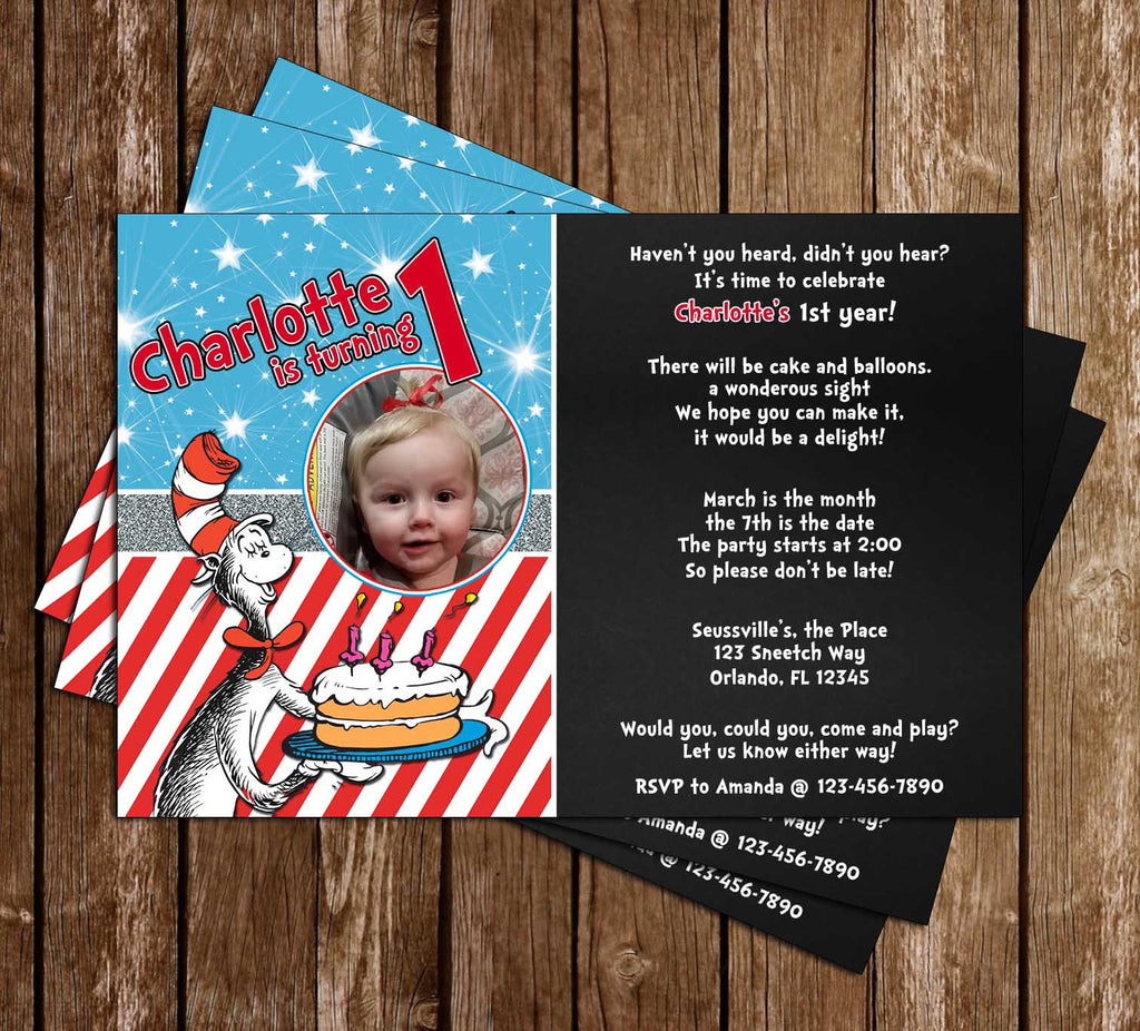 Cat in the Hat 1st Birthday Party Invitation Printable