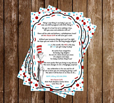 Cat in the Hat - Thing 1 and Thing 2 - Tall - Baby Shower Invitation Printable