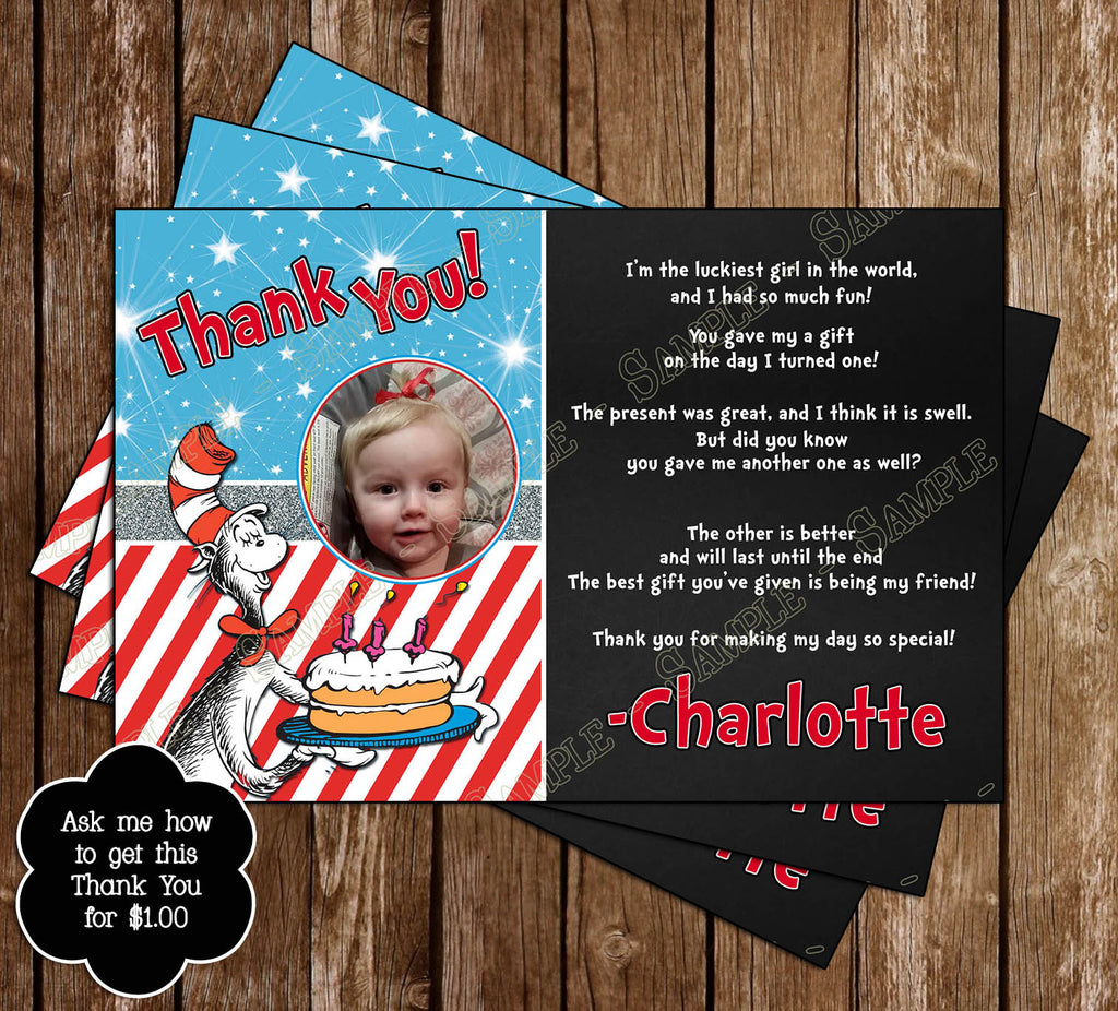 Novel Concept Designs Cat in the Hat Thing 1 and Thing 2 – 1 Birthday Party Invitations