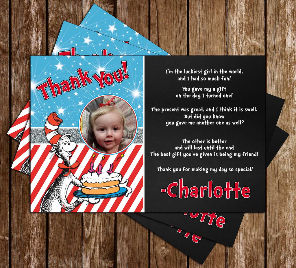 Cat in the Hat Book Birthday Party Thank You Card