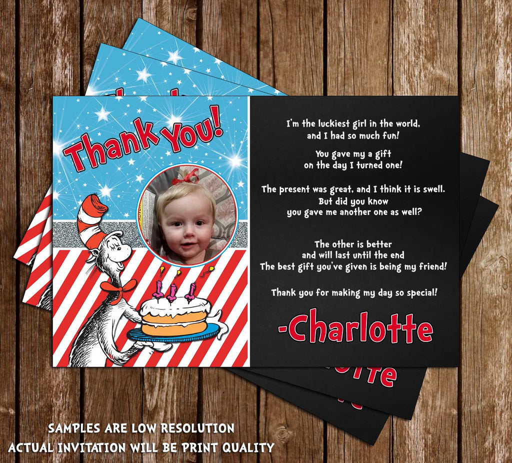 Novel Concept Designs Cat in the Hat 1st Birthday Party Thank – 1st Birthday Thank You Cards
