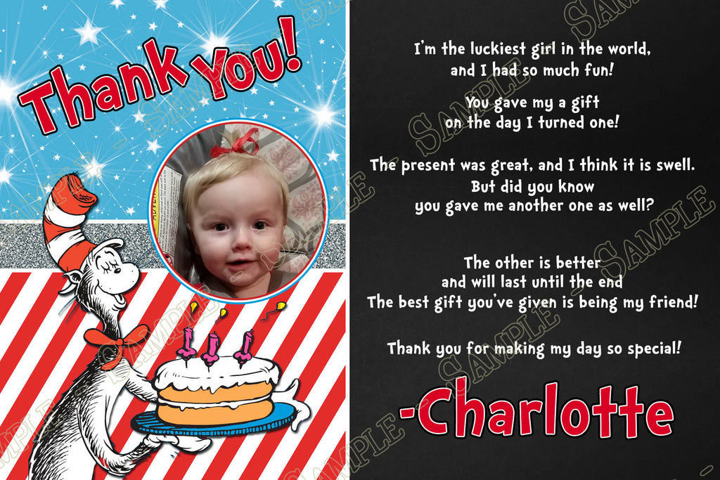 Novel Concept Designs Cat In The Hat 1st Birthday Party Thank You Card