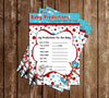 Dr Seuss - Cat in the Hat - Thing One & Thing Two Baby Shower Baby Prediction Card