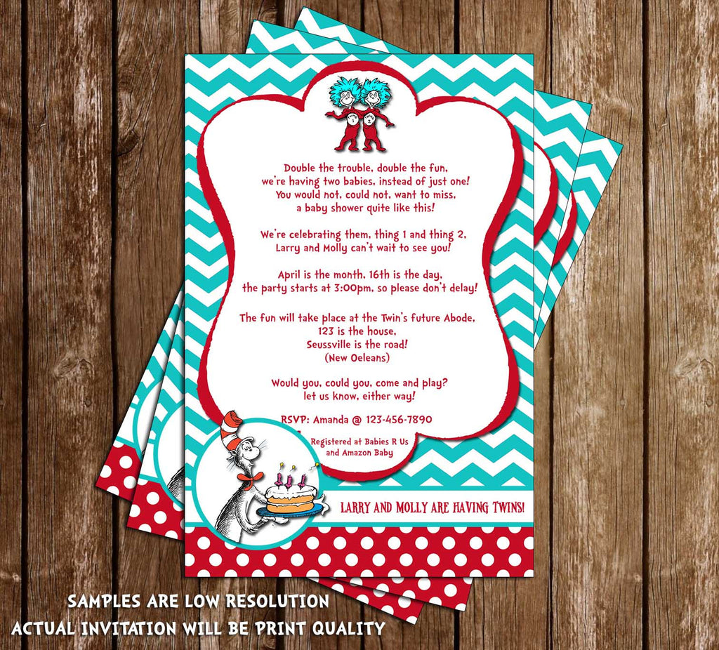 Novel concept designs thing 1 and thing 2 cat in the hat thing 1 and thing 2 cat in the hat twins baby shower invitation printable stopboris Images