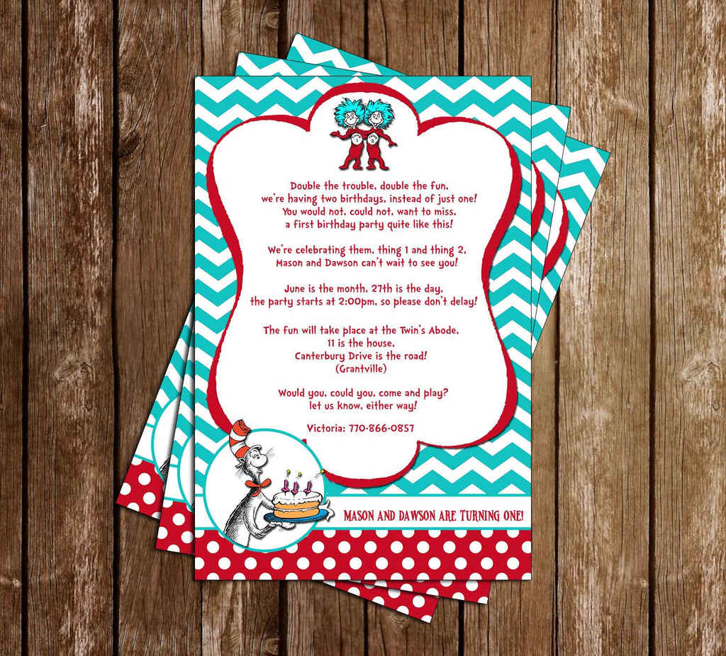 Twins Thing 1 and Thing 2 - Cat in the Hat - 1st Birthday Party Invitation Printable