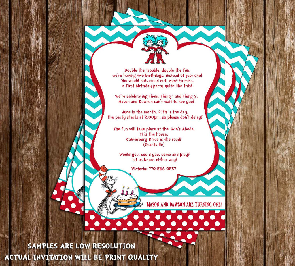 Novel Concept Designs Cat in the Hat Thing 1 and Thing 2 – Cat in the Hat Party Invitations