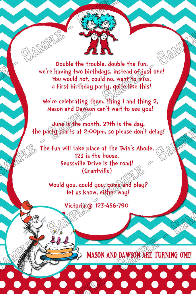 Novel Concept Designs Cat in the Hat Thing 1 and Thing 2 – Twin 1st Birthday Invitations