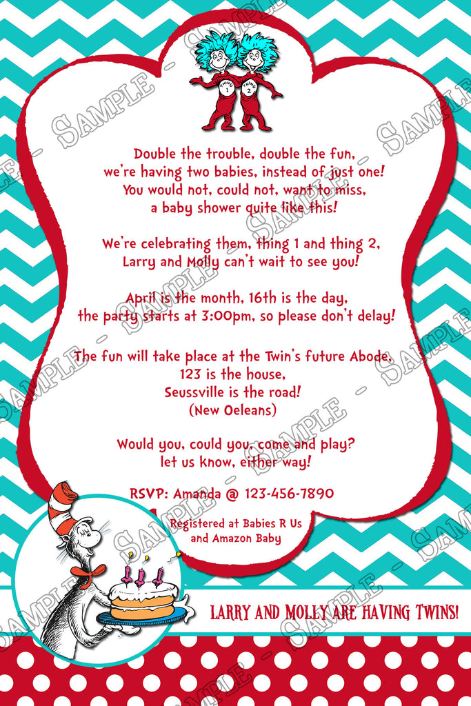 Thing 1 And Thing 2   Cat In The Hat   Twins Baby Shower Invitation  Printable