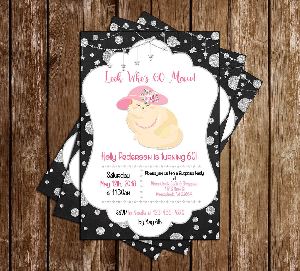 Novel Concept Designs - The Cats Meow - 60th Birthday - Party Invitation