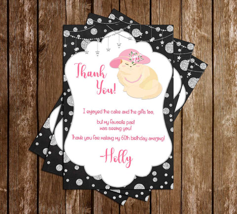 60th Birthday - The Cats Meow - Party - Thank You Card