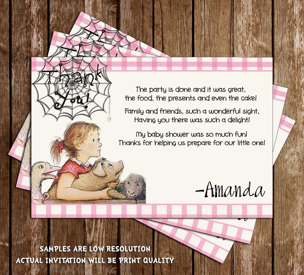 some baby web baby shower thank you card