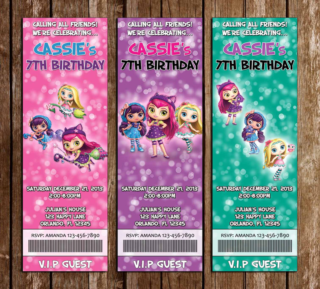 Little Charmers Show Birthday Party Ticket Invitation