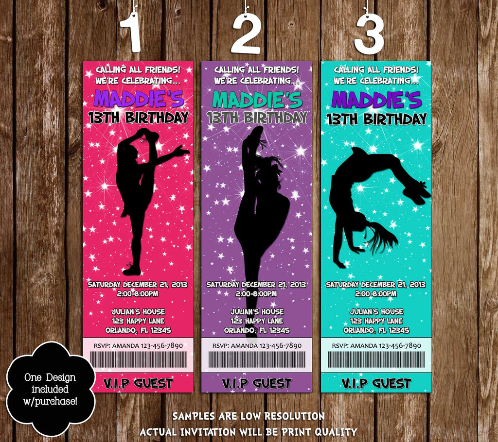 Novel Concept Designs Cheerleading Cheer Team Birthday Party – Party Ticket Invitations