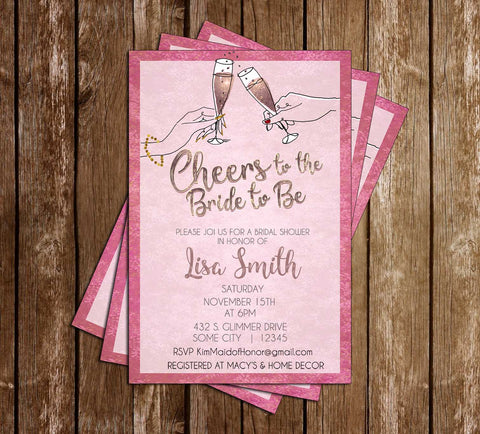 Cheers to the Bride - Bridal Shower - Invitation