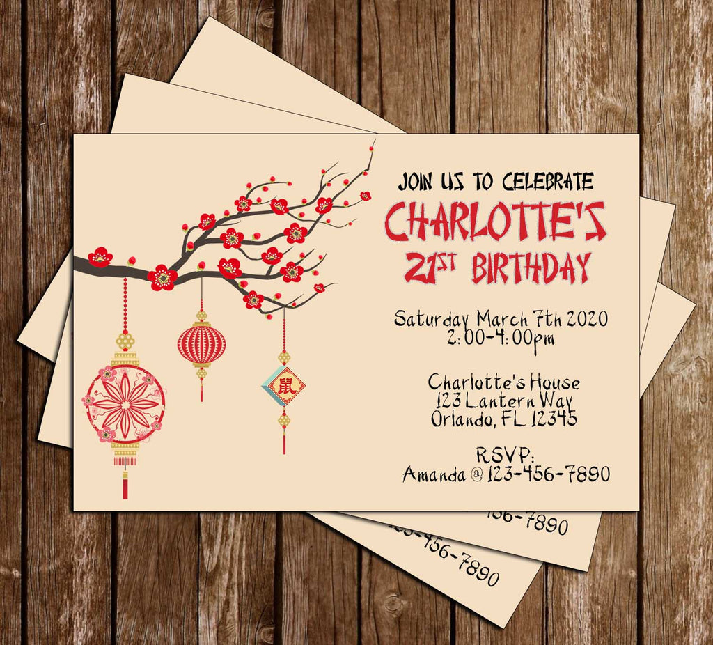 Cherry Blossoms - Chinese - Birthday Party - Invitation