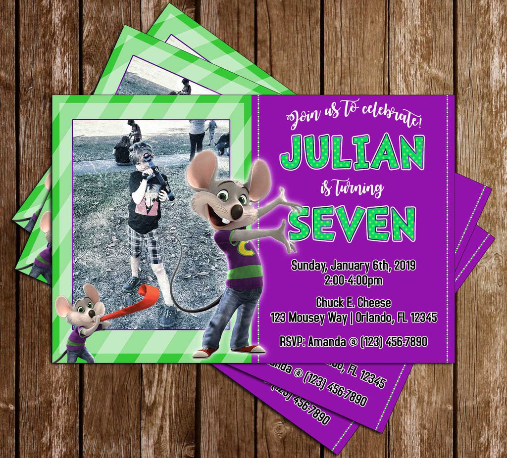 Chuck E. Cheese - Photo - Birthday Invitation