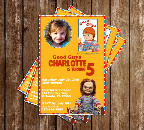 Chucky Movie - Good Guys Doll - Photo Birthday Party - Invitations