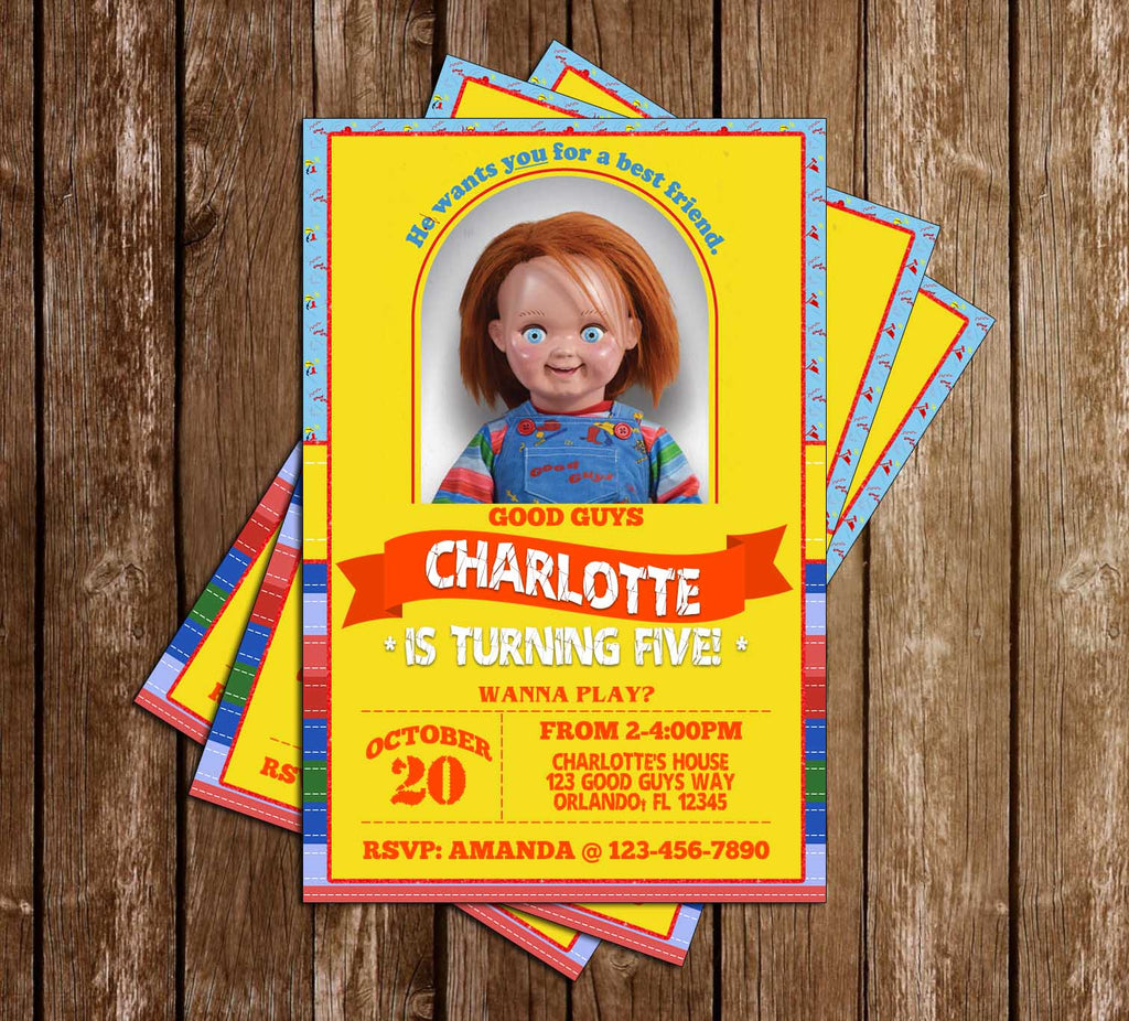 Chucky - Good Guys Doll - Birthday Party Invitation