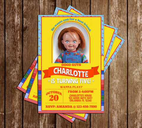 Chucky Movie - Good Guys Doll - Birthday Party Invitation