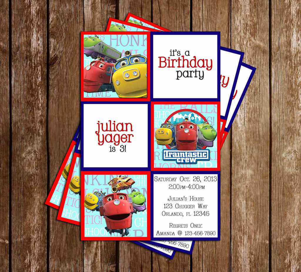 Disney Junior Chuggington Birthday Invitation (Blocks)