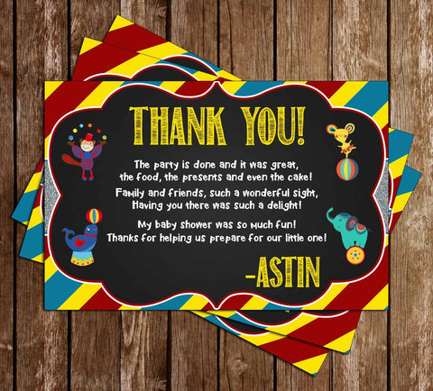 Circus - The Greatest Shower of All - Baby Shower - Thank You Card
