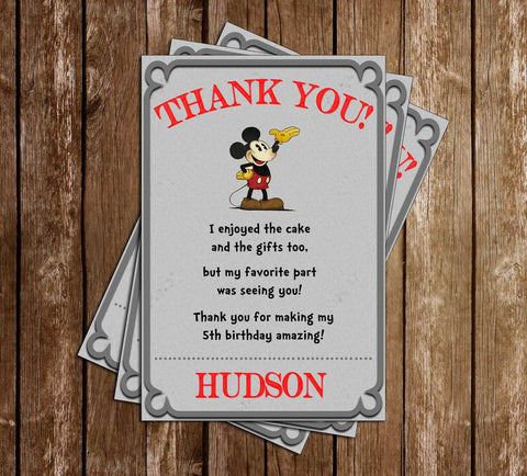 Classic Mickey Mouse - Grey - Birthday Party - Thank You Card