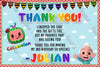 Cocomelon -  Birthday Party - Thank You Card