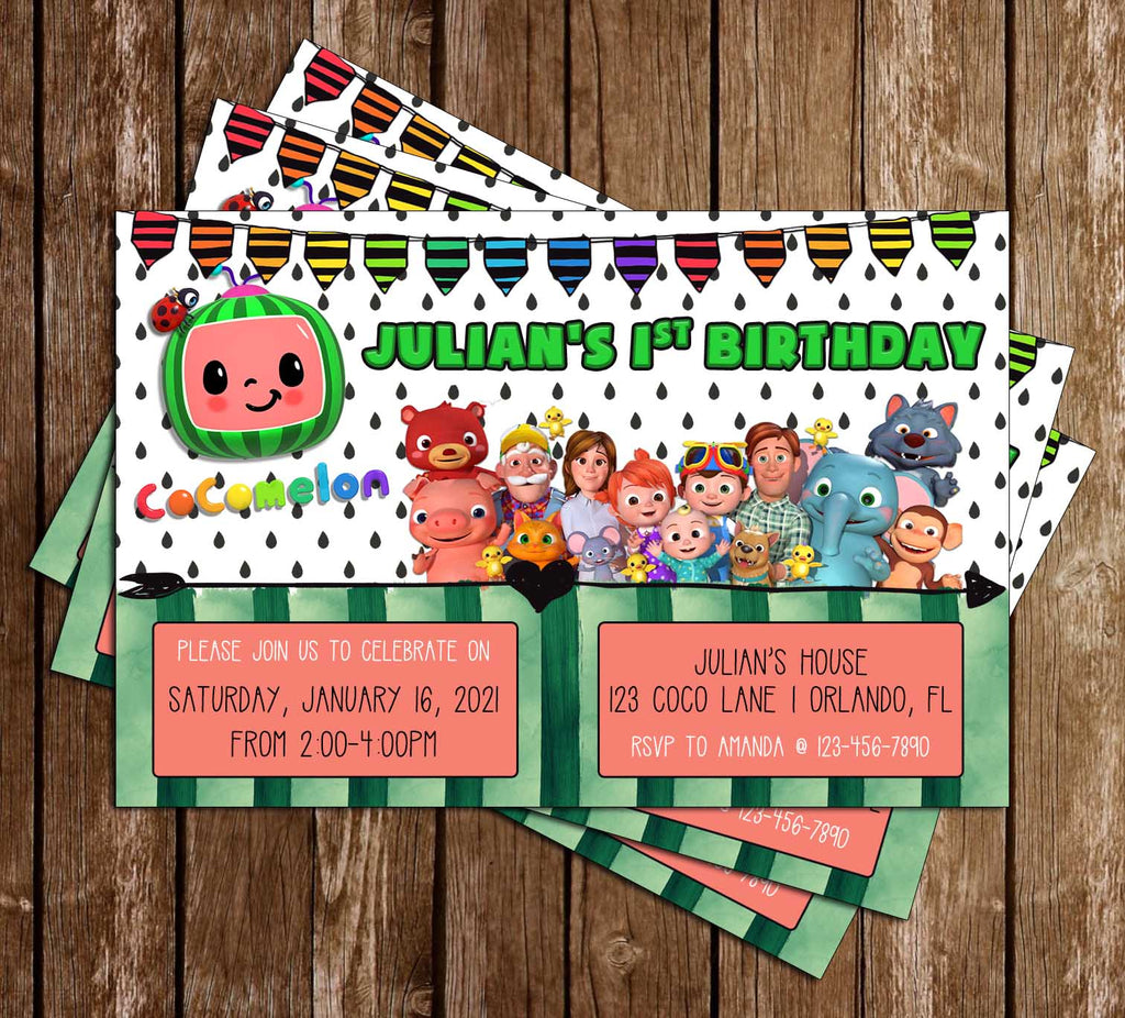 Cocomelon - Wide - Birthday Party - Invitation