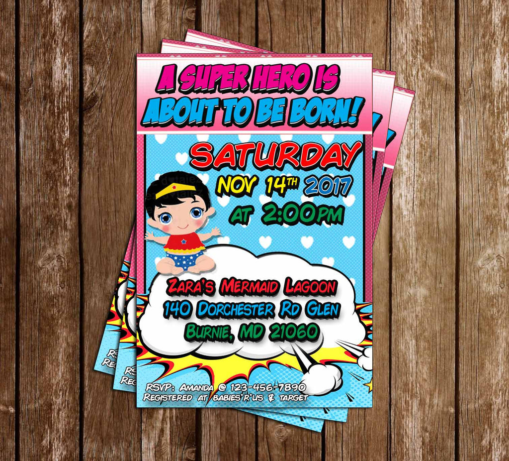 Super Baby - Comic Book - Baby Girl - Baby Shower - Invitation