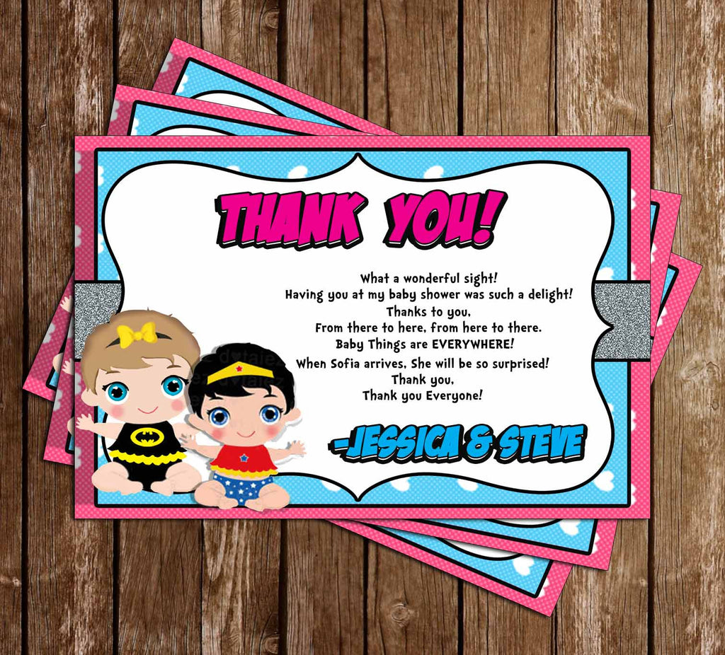comic book baby girl baby shower thank you card