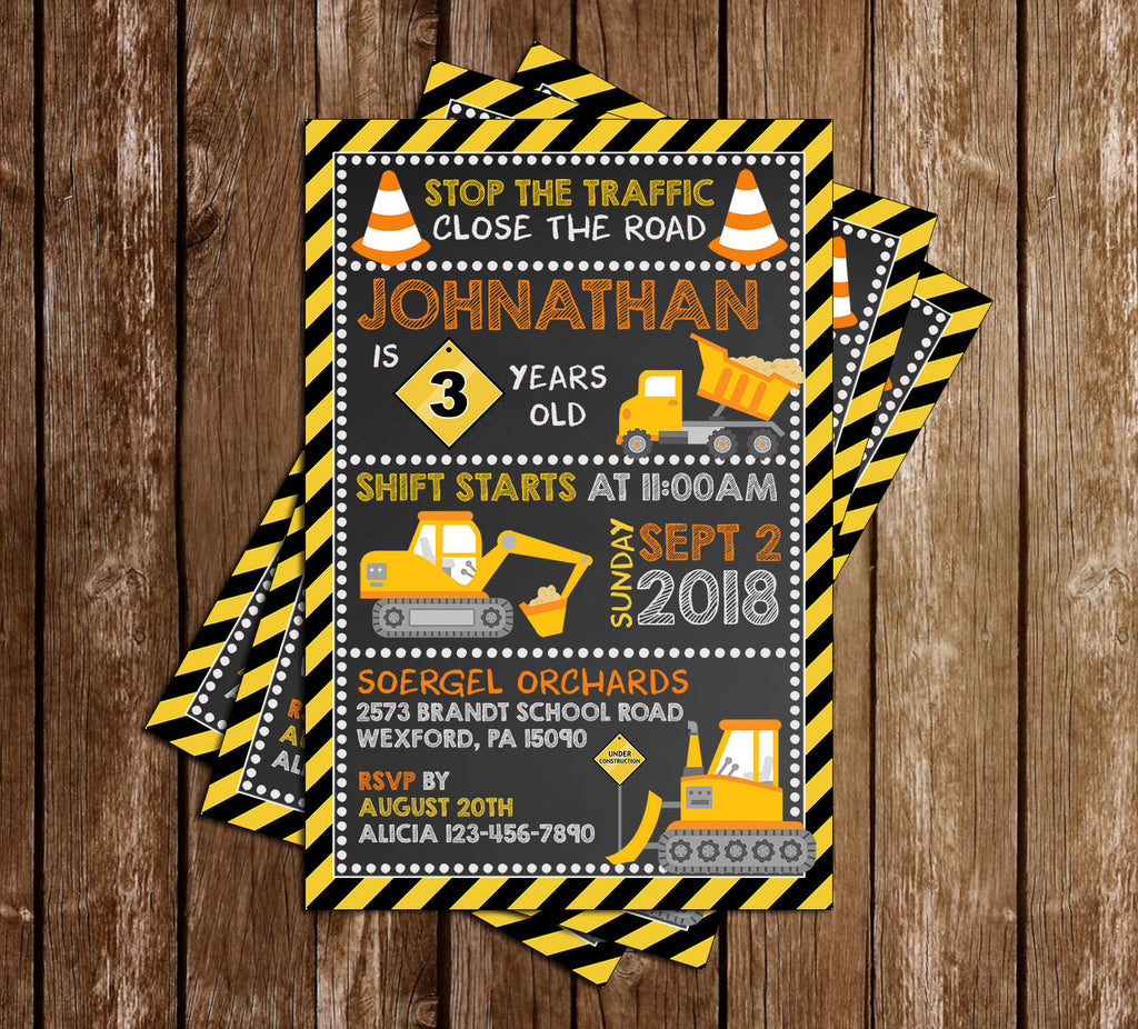 Construction - Stop the Traffic - Birthday Party - Invitation