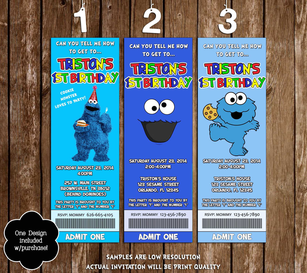 Novel Concept Designs - Cookie Monster Birthday Party Ticket ...