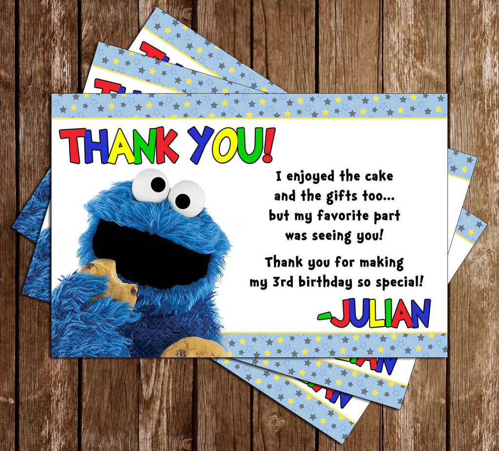 Novel concept designs cookie monster birthday party thank you card cookie monster birthday party thank you card bookmarktalkfo Choice Image