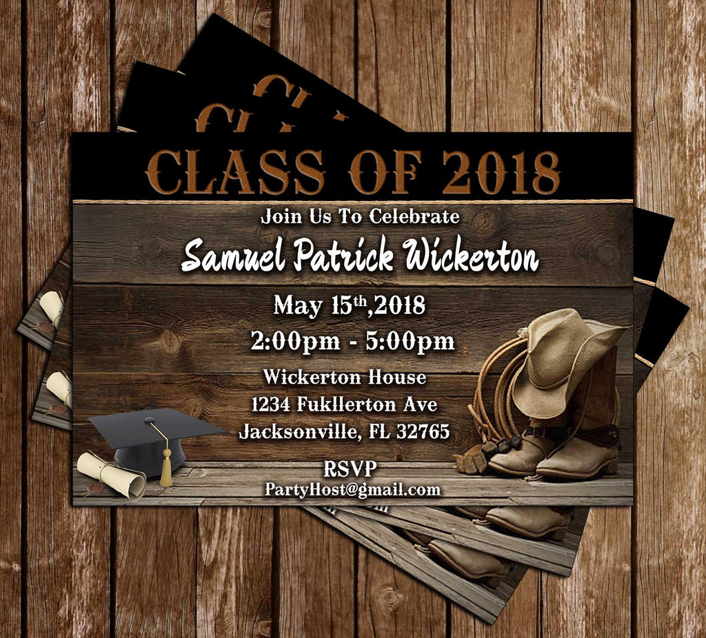 Cowboy - Cowboy Hat - Graduation Invitation / Announcement