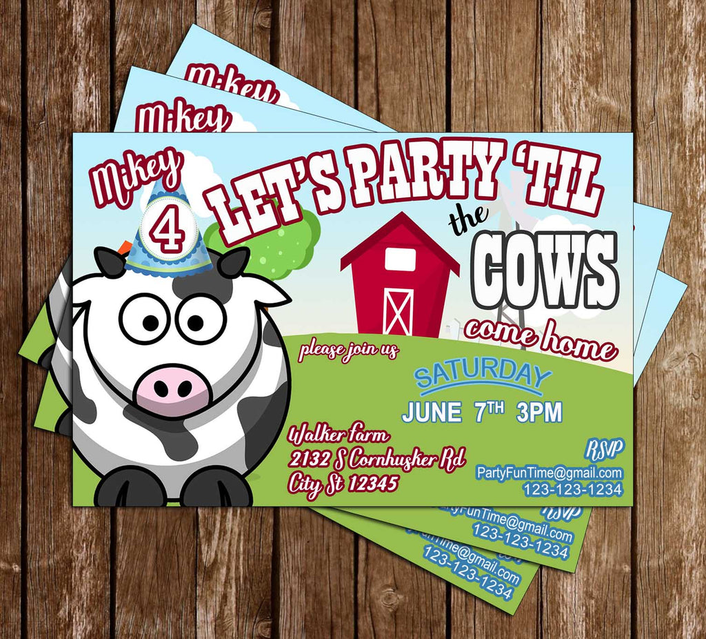 Cow - Party Until Come Home - Birthday Party - Invitation
