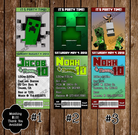 Minecraft - Creeper -Ticket - Birthday Invitation