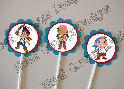 Free Jake and the Neverland Pirates Birthday Cupcake Toppers / Party Favor