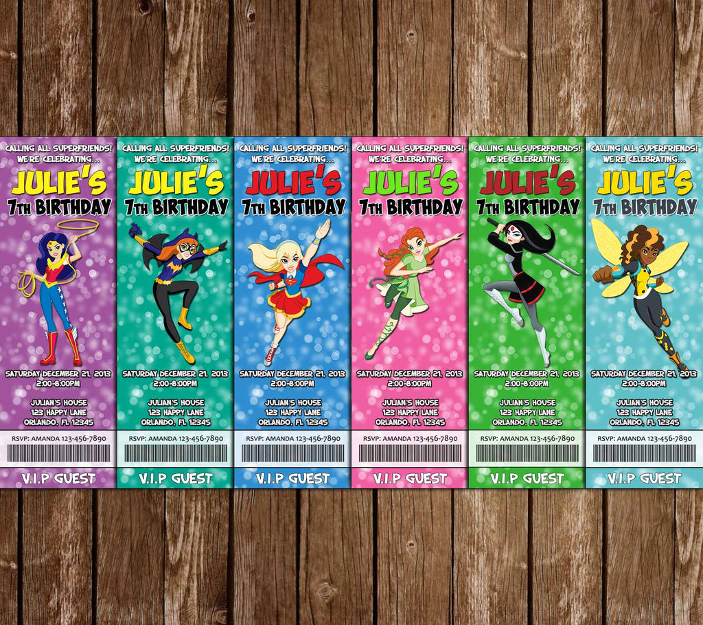 DC Superhero Girls - Ticket - Birthday Party Invitation