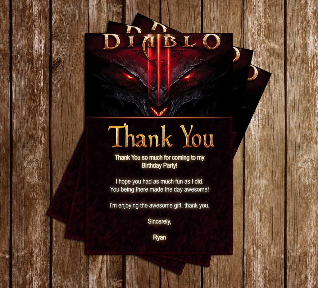 Diablo - Video Game - Birthday Party - Thank You Card