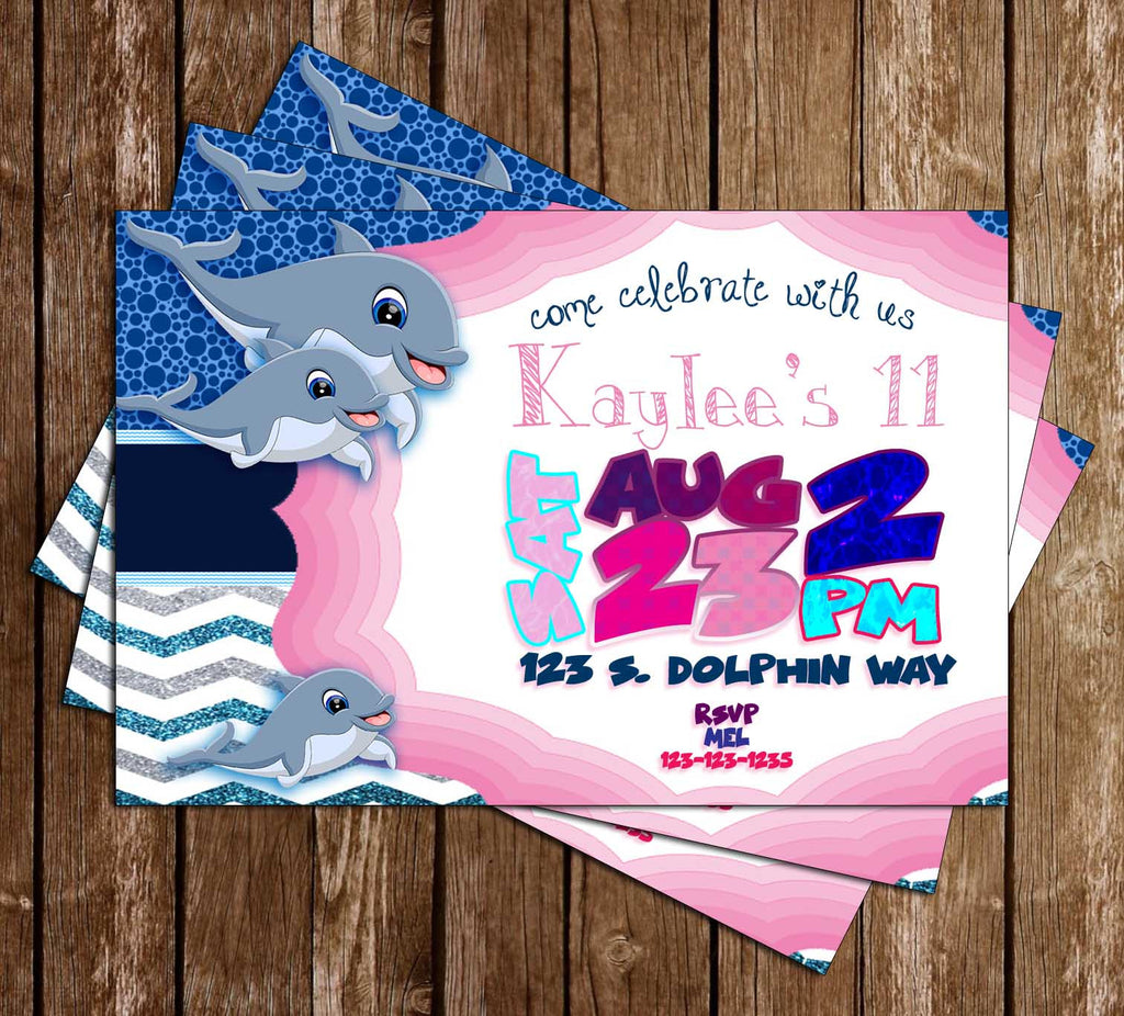 Dolphins - Ocean - Birthday Party - Invitation