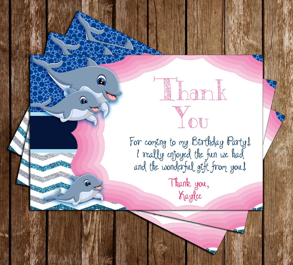 Dolphins - Ocean - Birthday Party - Thank You Card